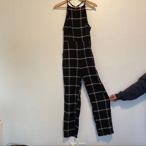 Black plaid romper with pockets